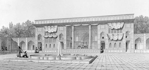 Marble throne at Golestan palace in 1840.