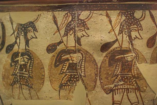 Marching soldiers, painted on the crater of Mycenae, Late Bronze Age, 12 century BC, National Archaeological Museum of Athens, N 1246. Detail.