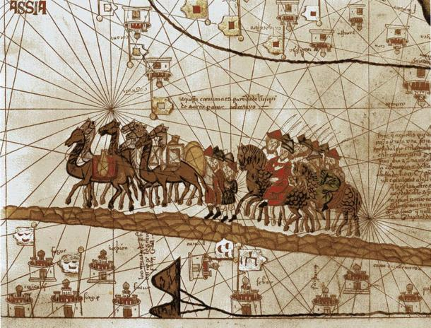 Marco Polo's caravan travelling to India. Abraham Cresques, 1375.
