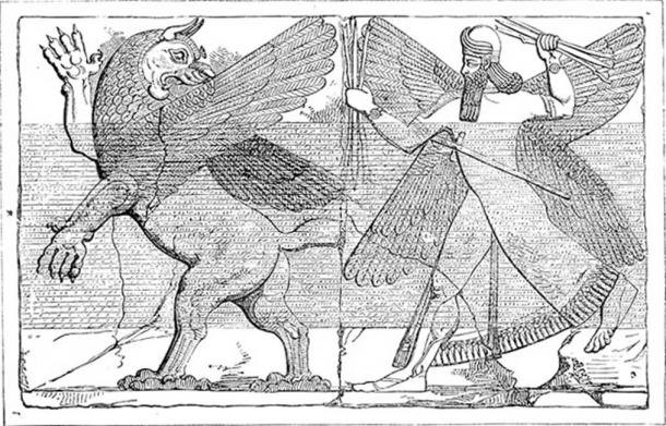 Marduk and the Dragon Marduk, chief god of Babylon, with his thunderbolts destroys Tiamat the dragon of primeval chaos. Drawing from relief