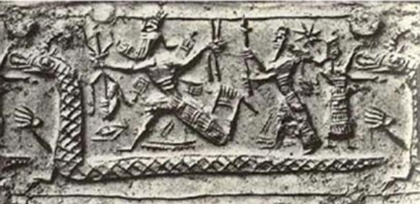 Figure 4. Marduk depicted with a three-tipped scepter
