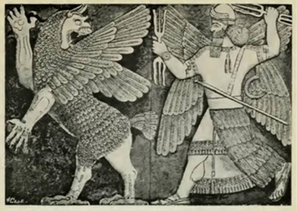 Figure 5. Marduk fighting Tiamat with the three-pronged weapon