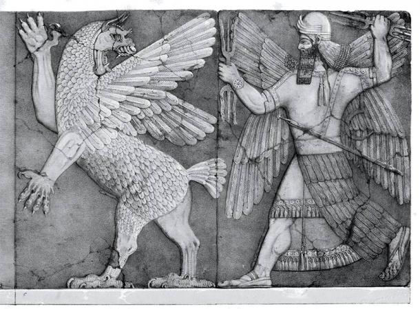 The god Marduk (right side) who was associated with magic in Mesopotamian culture. (Public domain)