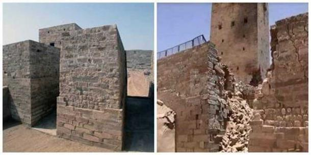 Ma'rib dam before and after the destruction in 2015.