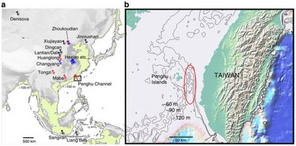 Marine topography of the Penghu Channel, from where the Penghu 1 jaw and teeth were discovered. According to the study by Kaifu and colleagues, the pins represent previous fossil locations.