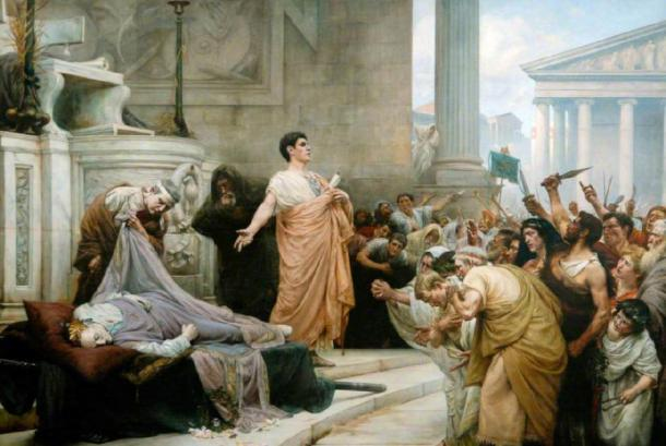 Mark Antony's oration at Caesar's funeral. (Mharrsch / Public Domain)