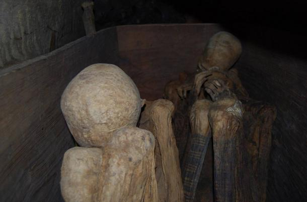 Markings on the legs of the Fire Mummies of Kabayan Caves, Philippines.