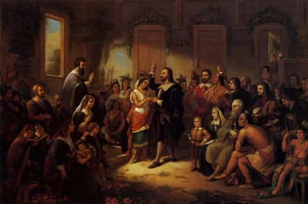Marriage of Matoaka (Pocahontas) to John Rolfe. From 'Pocahontas: Her Life and Legend' (1855) by William M. S. Rasmussen.