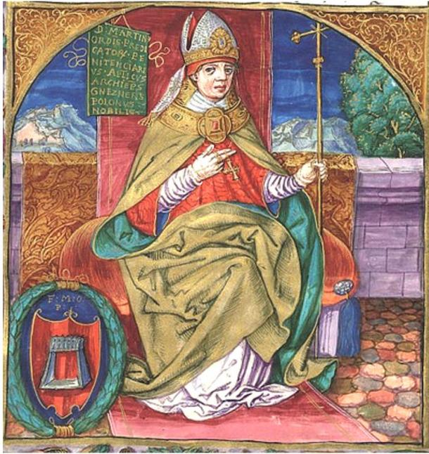 Martinus Polonus, the Dominican Friar who wrote a vivid account of Pope Joan's life, yet he revealed little about his sources. Here he is depicted as the Archbishop of Gniezno, illustrated manuscript prior to 1535.