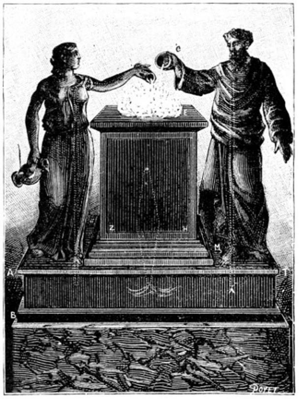 """Marvelous altar, pictured in the book """"Magic, Stage Illusions and Scientific Diversions Including Trick Photography."""""""