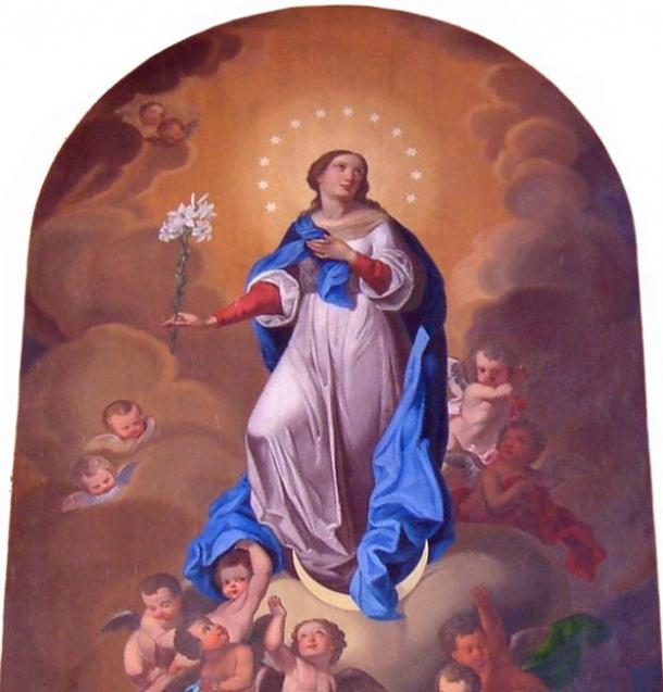 Mary as the goddess Selene, with the Moon beneath her feet and the twelve stars of the constellations around her head.