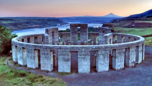 Painting of the Maryhill replica of Stonehenge