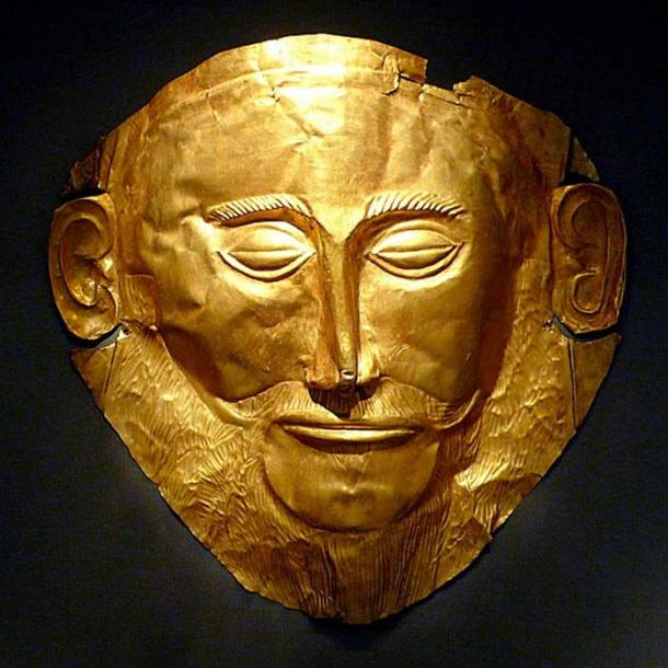 "Gold death-mask known as the ""Mask of Agamemnon."""