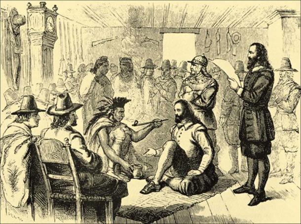 Massasoit and governor John Carver smoking a peace pipe. (Public Domain)