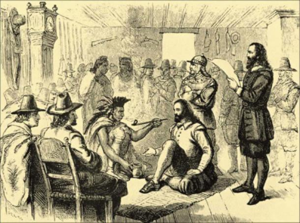 Massasoit and governor John Carver smoking a peace pipe. (Public Domain)