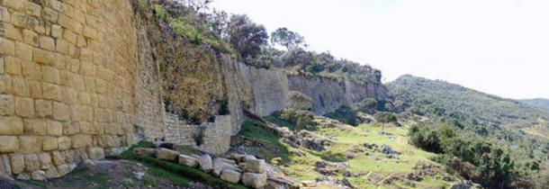 Massive exterior walls, eastern facade of the Kuelap citadel, Peru.