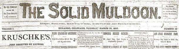 Masthead for the Solid Muldoon Newspaper published 22 March 1892. (Public Domain)