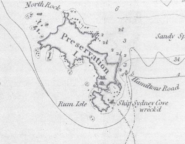 Detail from Matthew Flinders' 1798 chart showing Preservation Island, the Sydney Cove shipwreck, and other historic locations.