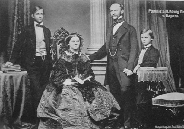 Maximilian II of Bavaria with his wife and two sons: King Ludwig II and his younger brother Otto.
