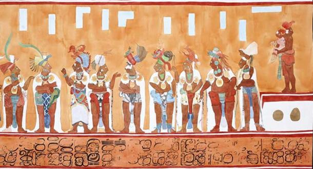 Detail of a Maya Bonampak mural. Note the priest and child on the upper right side.