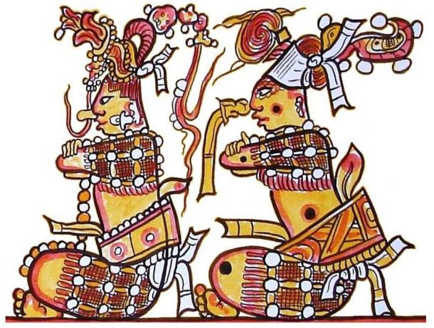 The Maya Hero Twins, known from the Sacred Book of the Maya, the Popol Vuh: Junajpu and Xbalanq´e. Painted by Lacambalam. Motif taken from an ancient Maya ceramic.