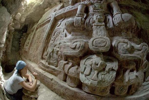 The Maya frieze in excellent condition.