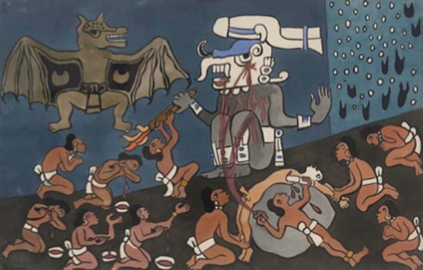 Maya human sacrifice before Tohil, Maya deity. (Rivera / Public Domain)