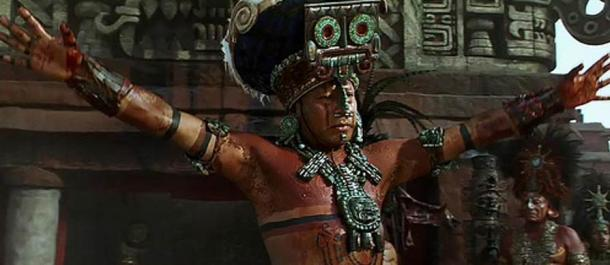 In the movie 'Apocalypto', a Maya king is shown wearing a large pendant during a ceremony.