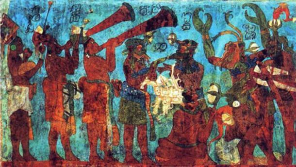 Maya musicians and dancers, Bonampak mural. (Public Domain)