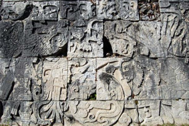 Maya sacrifice story. The figure on the upper right corner shows the beheaded body. The severed head is shown on the lower left corner with blood still spouting from the neck. (Shubert Ciencia / CC BY-SA 2.0)