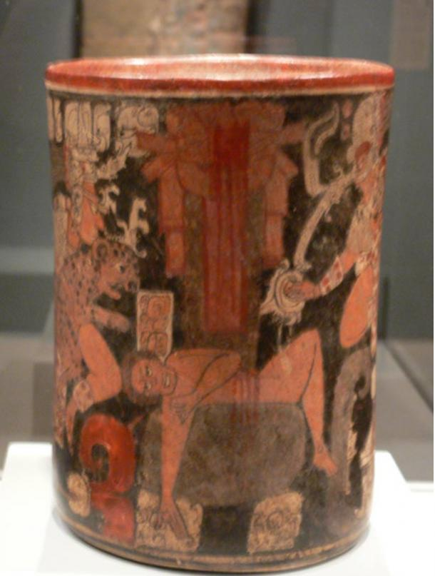 Maya vessel with a scene of human sacrifice. Guatemala or Mexico, c. A.D. 600 - 850. Were whistles used to alter the state of consciousness of the victims before death?