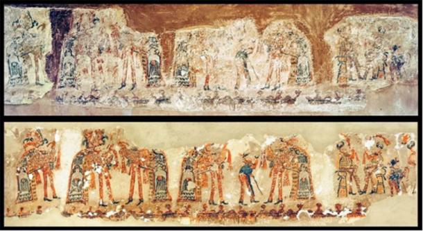 One new Maya wall painting before and after conservation (Image: R. Słaboński / Antiquity Publications Ltd)