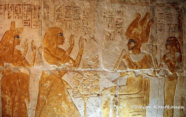 Maya was one of the elite, the third most powerful man in Egypt after the King and the Vizier; and as the Treasurer and Overseer of the Place of Eternity (Royal Necropolis), he served successive pharaohs: Tutankhamun, Aye and Horemheb. No cost was spared in fashioning a sumptuous resting place for Maya and his wife Merit. The couple adores Osiris and Nephthys in this stunning gold painted relief in their Memphite tomb.