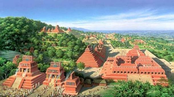 Artist's representation of what the Maya world may have once looked like (artist unknown)