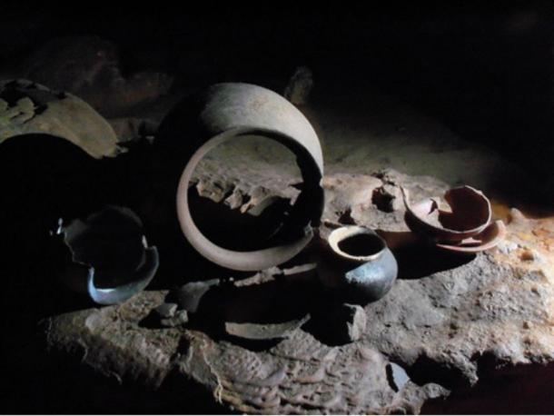 Mayan Pottery located in the cave of Actun Tunichil Muknal, Belize.