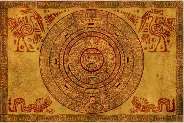 Mayan calendar on parchment.