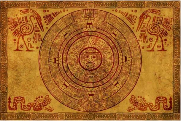 Mayan calendar on parchment.