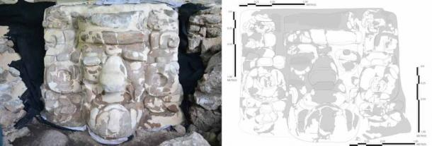 Detail of the stucco Mayan mask discovered near the village of Ucanha in Mexico. (INAH)