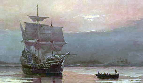 Mayflower in Plymouth Harbor by William Halsall (1882).