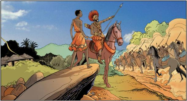 Mbande formed an alliance with the Imbangalas, a fierce band of mercenary warriors (CC by SA 3.0)