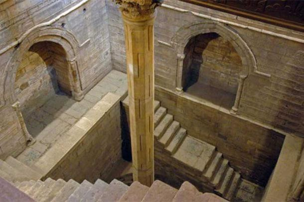 Measuring shaft of the Nilometer on Rhoda Island, Cairo. Nilometers measured how high or low the flood would be.