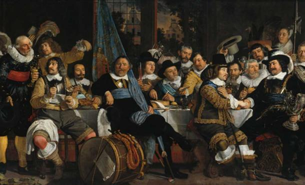 In Medieval England, a sumptuary law banned decedent feasts involving an overconsumption of meat. 'Banquet of the Amsterdam Civic Guard in Celebration of the Peace of Münster', 1648
