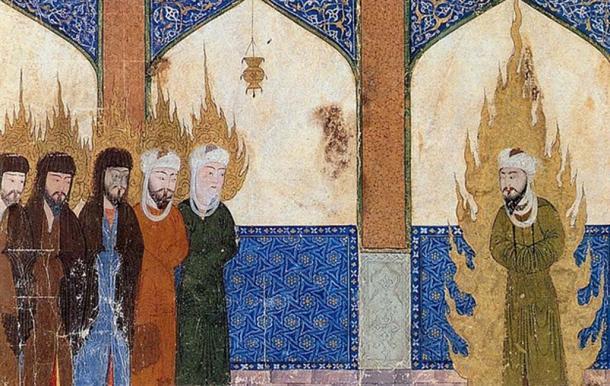 Medieval Persian manuscript depicting Muhammad leading Abraham, Moses and Jesus in prayer. (Public Domain)