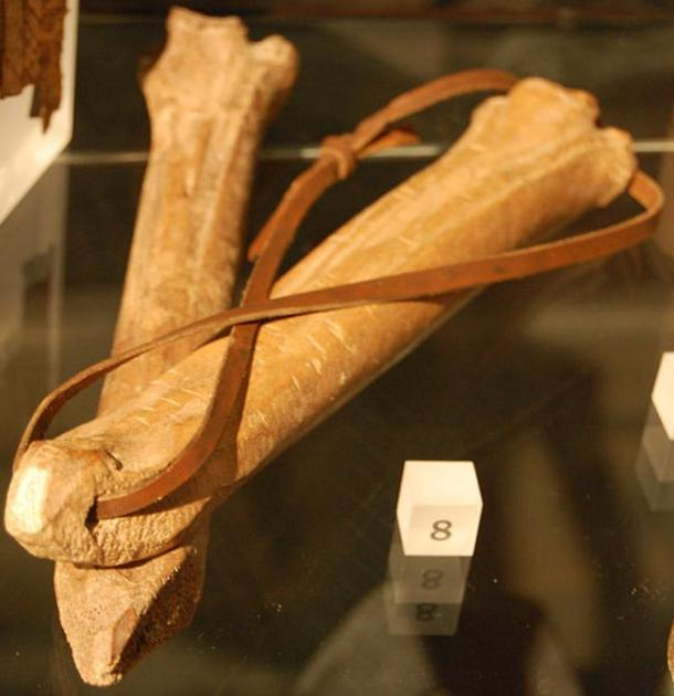 Medieval bone ice skates on display at the Museum of London, England.