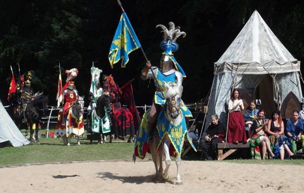 Medieval joust re-enactment