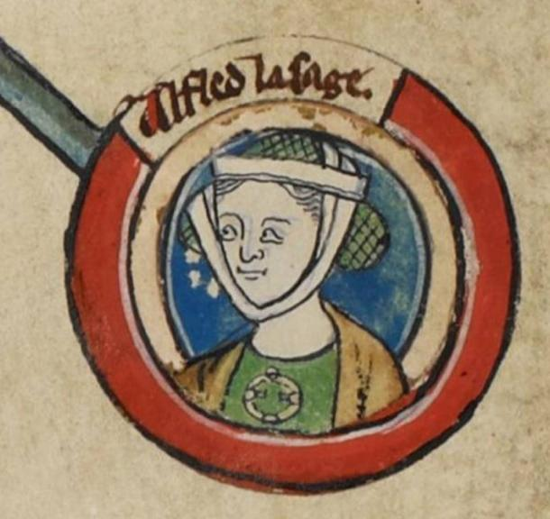 Medieval miniature of Aethelflaed in Genealogical roll of the kings of England. 14th century