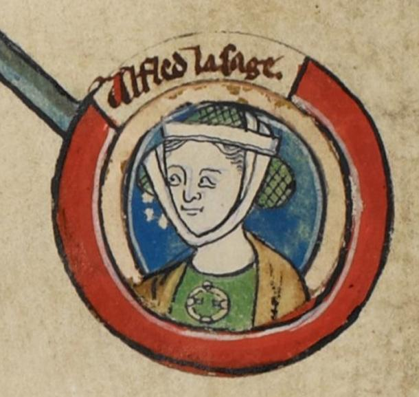 Medieval miniature of Æthelflæd in Genealogical roll of the kings of England. 14th century