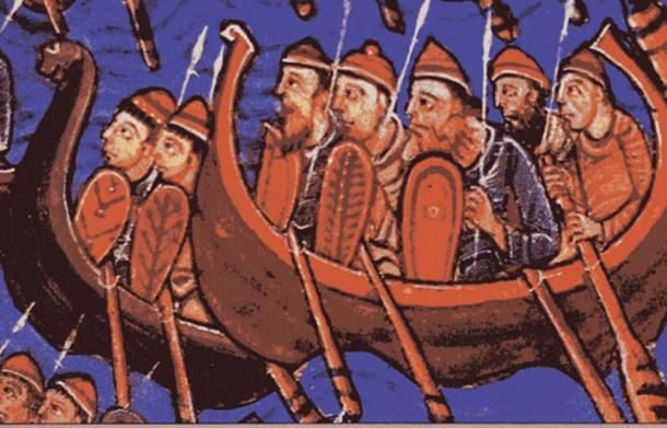 Medieval picture showing Icelandic Vikings wearing hats. (Artist: Unknown)