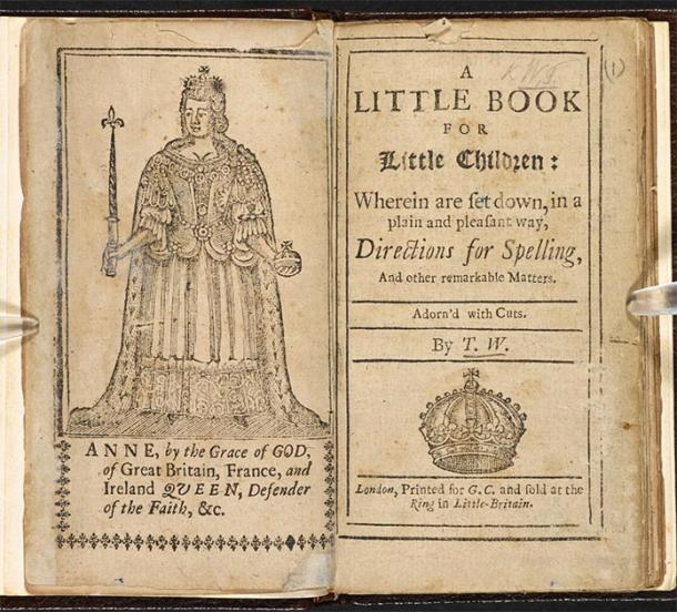 Medieval children's book, titled 'Little Children's Little Book' published in 1702. (British Library / Public Domain)