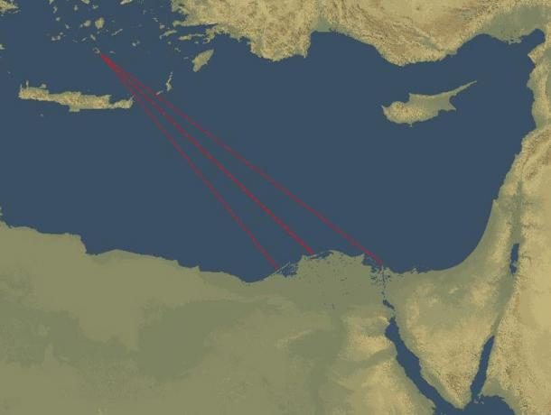 Map showing the directions of some of the waves caused by the Minoan eruption that took place on the Mediterranean island of Santorini and may have reached Egypt, possibly creating tsunamis in the Nile Delta.